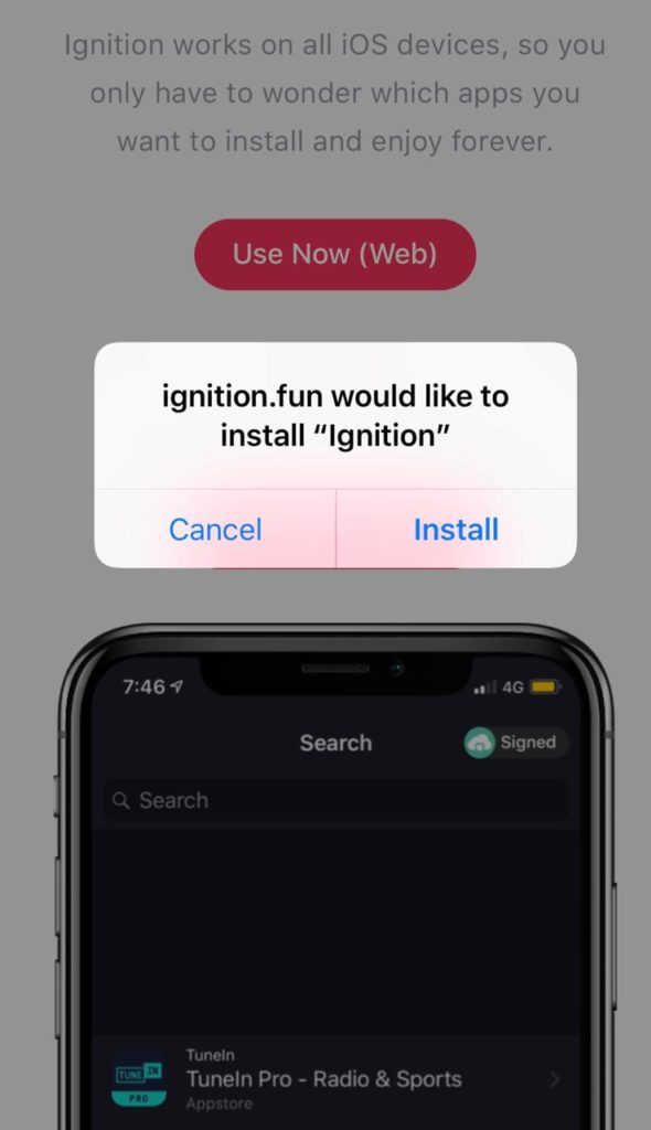 install ignition app on iphone